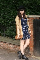 polka dot dress - camel cardigan