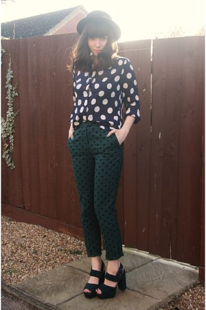 navy polka dot blouse - teal polka dot pants