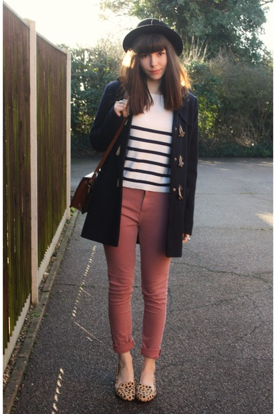 pink jeans - navy duffle coat
