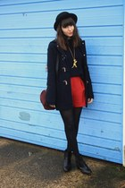 navy duffle coat - red shorts
