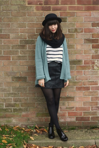 light blue cardigan - black leather skirt