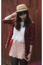 brick red polka dot blazer - light pink scalloped shorts - white crochet trim to