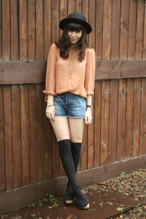 peach sheer blouse - denim shorts
