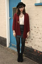ivory sheer blouse - crimson cape cardigan - black leather skirt