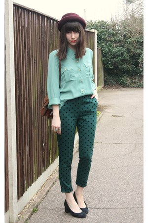 forest green polka dot pants - light blue Forever21 blouse