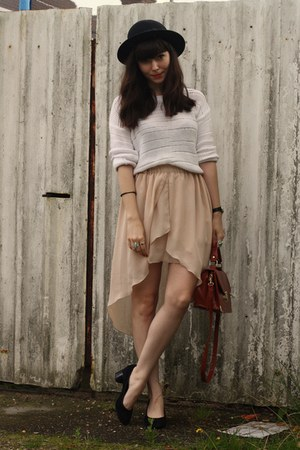 neutral mullet skirt - ivory sweater