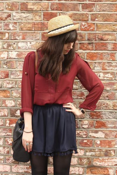 navy shorts - crimson sheer blouse