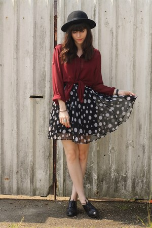 crimson sheer blouse - polka dot skirt