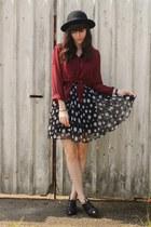 crimson sheer blouse - polka dot skirt