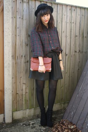 plaid shirt - black leather H&M skirt