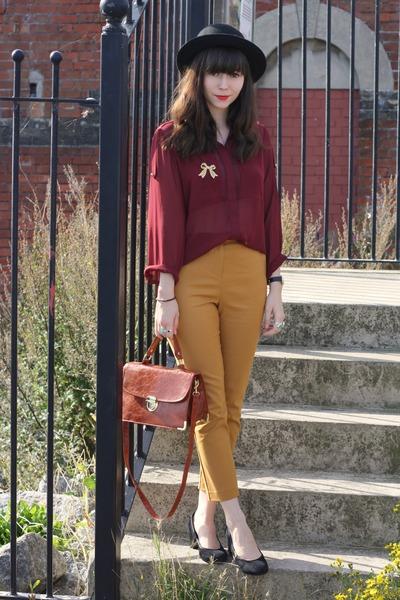 gold ankle grazer pants - burgundy sheer blouse
