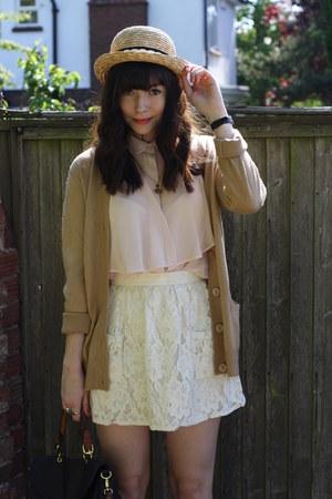 camel cardigan - light pink blouse - off white skirt