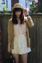 camel cardigan - light pink blouse - off white skirt