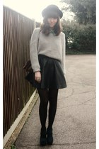 black leather skirt - heather gray sweater