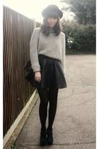 black leather skirt - heather gray sweater