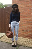 periwinkle pants - navy sweater