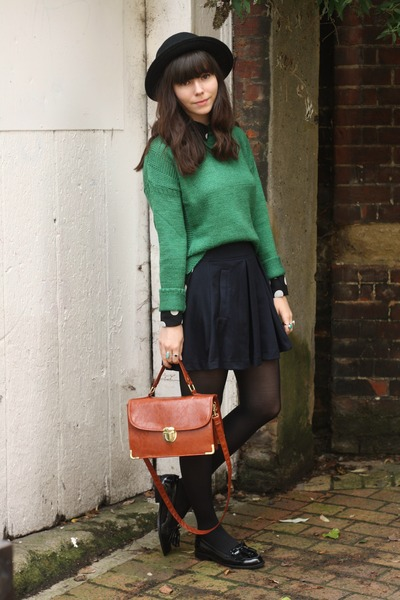 apple green sweater - pleated skirt - patent loafers