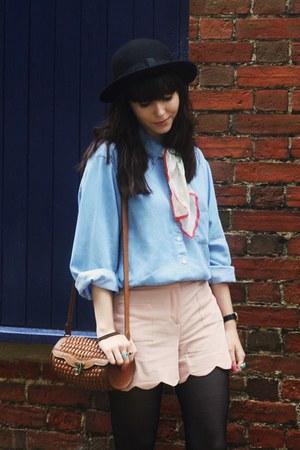 denim shirt - light pink scalloped shorts