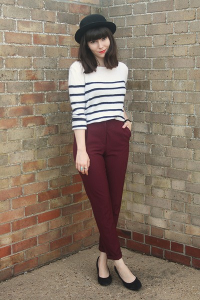 breton stripe sweater - crimson pants