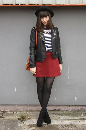 black leather jacket - crimson skirt - striped top
