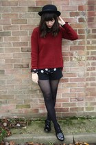 brick red sweater - black polka dot blouse - black patent flats