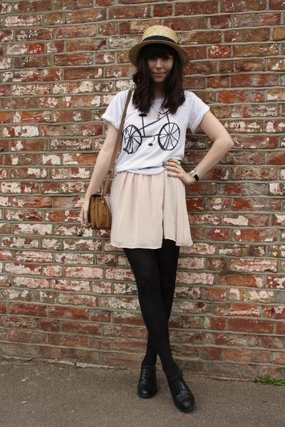 white Topshop t-shirt - light pink Topshop dress - cream H&M hat