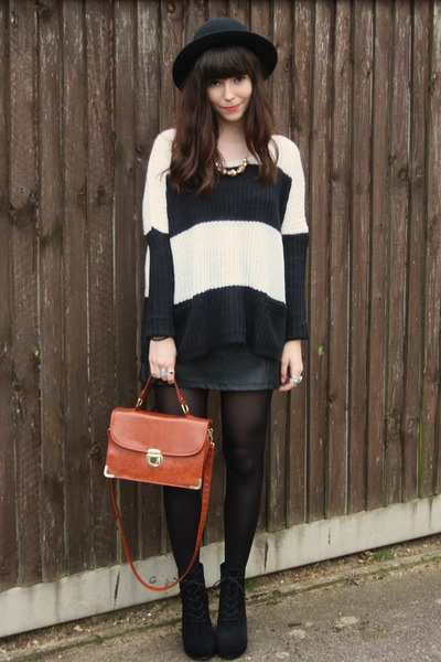 black leather skirt - striped knit sweater