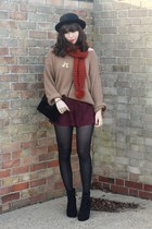 camel sweater - burnt orange scarf - crimson lace shorts
