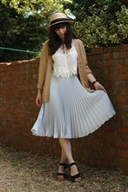 periwinkle pleated sheer skirt - camel cardigan - white top