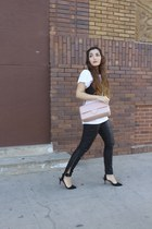 black leather Zara pants - light pink Chanel purse - black Zara top
