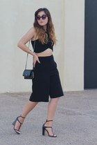 black culotte Forever 21 shorts - black woc Chanel bag - black cropped Zara top