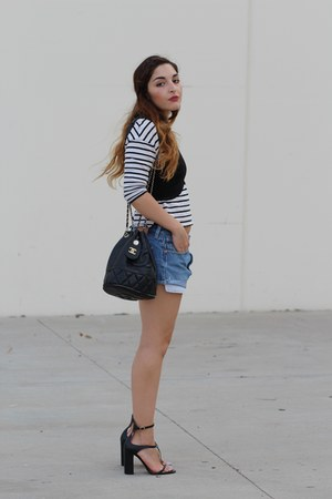 black cropped Zara top - white striped Zara shirt - sky blue jean DIY shorts
