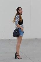 black cropped Zara top - white striped Zara shirt - sky blue jean DIY shorts
