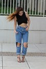 Black-cropped-zara-top-light-blue-diy-mom-vintage-jeans