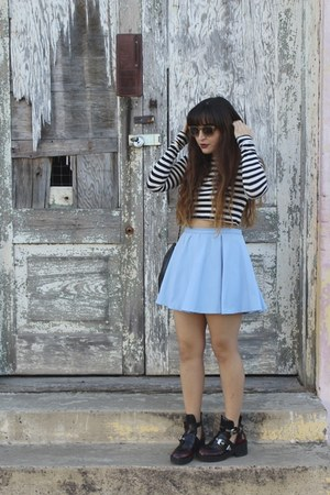 white striped Zara top - brick red coltrane Jeffrey Campbell boots