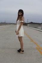 black flatform asos shoes - white sheer panel Princess Polly dress