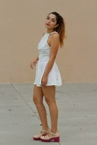 white skater Nasty Gal dress - neutral platform asos heels