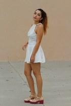 white skater Nasty Gal dress - neutral platform asos heels