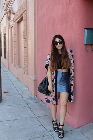 bubble gum kimono Forever 21 cape - black Topshop boots - maroon Topshop shirt