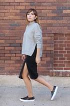 black slit asos skirt - heather gray zipper H&M sweatshirt