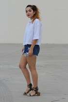 white cropped Zara shirt - navy diy vintage shorts
