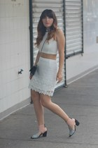 white cropped Zara top - light pink cut out shellys london boots