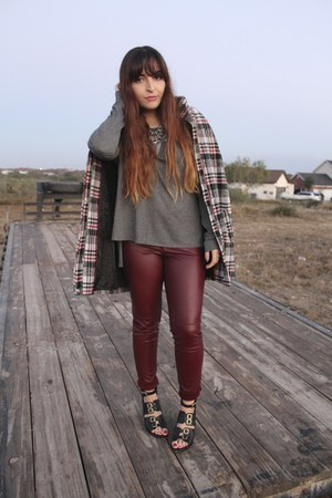 maroon leather H&M pants - black Topshop boots - ruby red plaid Express coat
