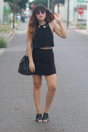 black vintage Chanel purse - black grid print American Apparel skirt