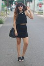 black vintage Chanel purse - black grid print American Apparel skirt