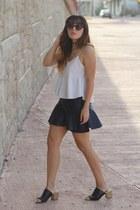 white strappy Zara top - navy leather Zara skirt - black mule Zara heels