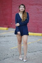 navy playsuit Princess Polly romper - silver pointy Zara heels