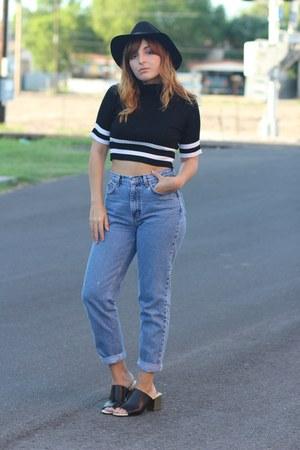 black black H&M hat - sky blue mom vintage jeans - black mules Zara heels