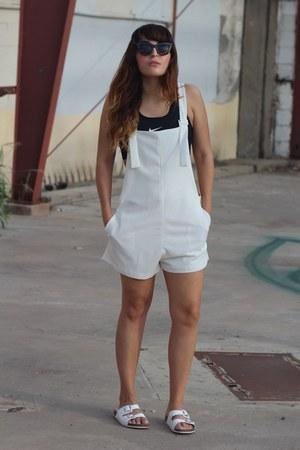 white overalls Zara romper - black sports nike bra