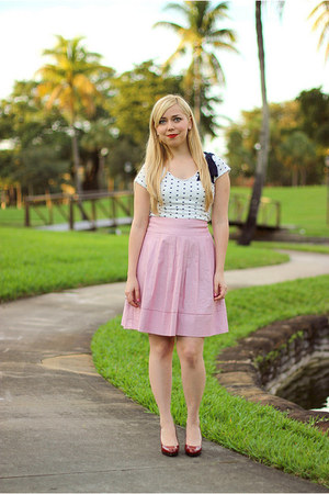 navy Zara top - pink skirt - ruby red Jessica Simpson pumps
